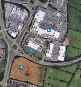 A birds eye view of the Fosse Park area